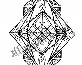 Adult Coloring Page - Geometric Mandala - Instant Download - Zentangle - Doodle Illustration - DailyDoodler - Unique Geometric Illustration