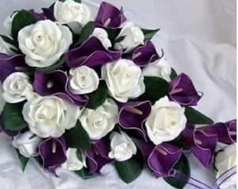 Ivory, Roses,Purple, Real Touch, Calla lilies, Silk, Wedding, Bridal, Cascade, Bouquet