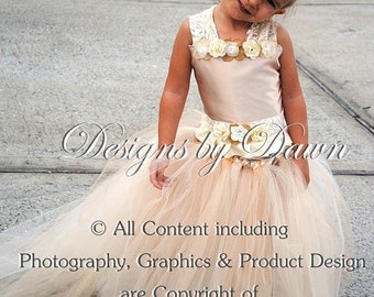 Flower girl Dress. Corset top, tutu skirt with train and hair clip. Size 6m-12 Girls. Custom sizes and colors available
