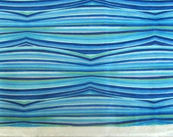 China Blue Refraction Ribbon Stripe by Julie Paschkis for In The Beginning Fabrics - 1 Yard, 1/2 Yard, and Fat Quarters             05/2017