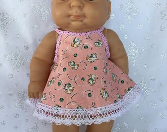 Kittens and Dots Dress with Bloomers for 13 inch baby doll like Berenguer