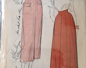 Vintage 40s Skirt Pattern 24 waist Advance 5162 slim gired pockets