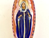 Our Lady of the Rosary Blessed Mother affordable original catholic art monkey pods small niche home altar mini personal shrine retablo
