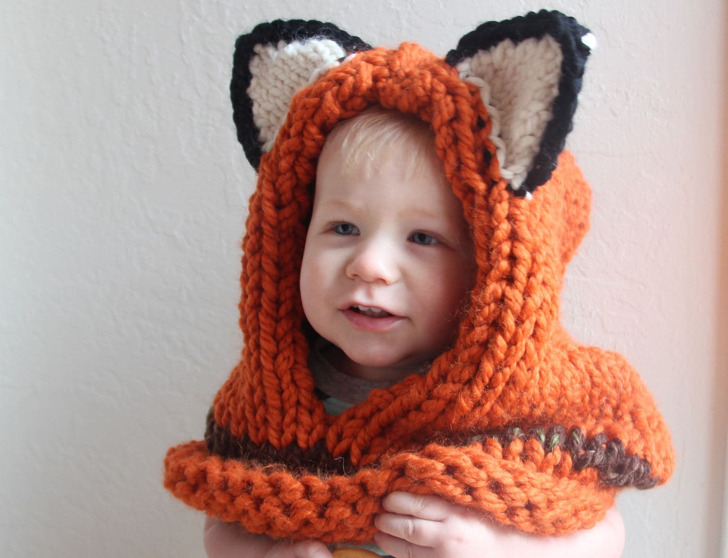 Knit fox hood for kids or adults