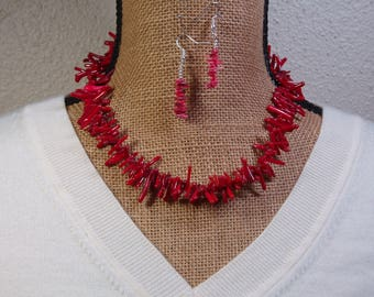 AAA Grade Natural Red Coral, 925 Silver Necklace and Earrings