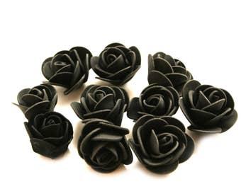 10 Black Foam Roses - Artificial Flowers