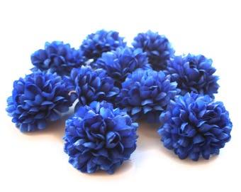 25 Royal Blue Pom Pom Carnations - Artificial Flowers