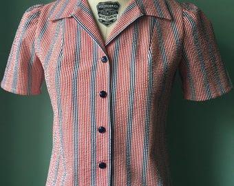 1930s 1940s vintage cotton seersucker  fabric   puffed sleeve blouse     bust34 35  SALE