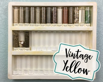 VINTAGE/SUNSHINE YELLOW- Souvenir Sand Shelf - Shabby Chic Vintage Shelf (with or without 42 glass bottles)