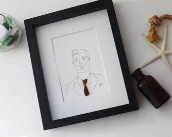 Sea Glass Art /Groom Gift /Husband Gift /Brother Gift /Gentleman /Birthday Gift /Fine Art / Gift Art / Love Art / Wall Art / Framed Art