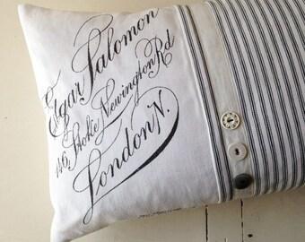 Vintage calligraphy script  ticking cushion