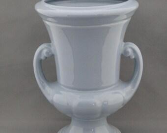 "Tall Vintage Abingdon Blue Urn Style Vase 10"" Pottery Art Deco #101"