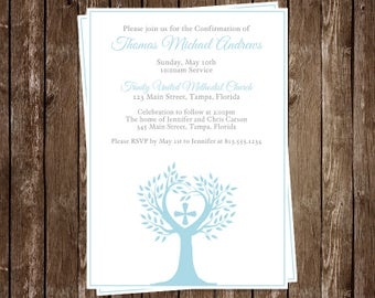 Tree of Life, Religious, Invitations, Confirmation, Dusty, Blue, Cross, Set of 10 Invites With Envelopes, Holy, Boys, Customized, Church