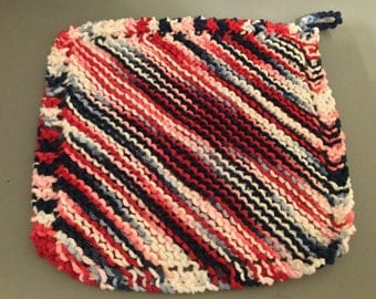 Hand knit 100% cotton washcloth, facecloth, dishcloth