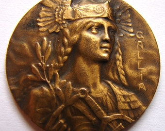 FRENCH MARIANNE GALLIA Queen goddess of Gaul France antique Art Nouveau French goddess Gallia medallion medal