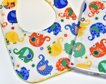 Colorful Baby Boy Bib Burp Cloth Gift Set, Cute Bib Elephants, Baby Gift, Burp Cloth, Burp Rag, Baby Shower Gift, Cute Baby Items