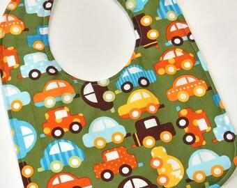 Toddler Boy Bib Baby Bib for Toddler Gift Idea, Colorful Cars, Boy Bibs, Reversible Bib, Soft Flannel Backing