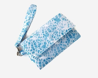 Blue and White Cushioned Phone Wristlet Wallet - Padded Phone Clutch - Removable Strap - Trifold Cell Phone Wallet