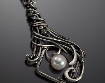 Freshwater Pearl Pendant, Fine Silver Pendant- Lorelei Pendant