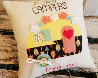Happy Campers Forever Wedding Ring Bearer Pillow. Wedding gift for campers and glampers