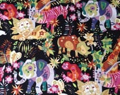 """Alexander Henry Fabric 2002- """"on land"""" Cotton Quilt Fabric Remnant"""
