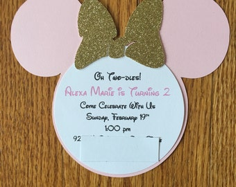 Oh Twodles Pink Gold Minnie Mouse Glitter Invitations Minnie Invitations 2nd 2 year old Birthday Baby Shower Invitations Minnie Inspired
