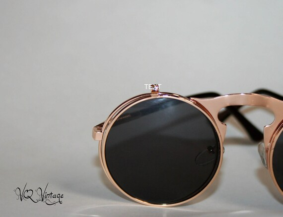 Flip Up Sunglasses Rose Gold Rocker Chic