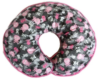 Baby Girl Boppy Pillow Cover Glitter Skulls Gray Pink Camo Camouflage Nursing Pillow Slipcover Punk Rock Baby Military Baby Skull Baby