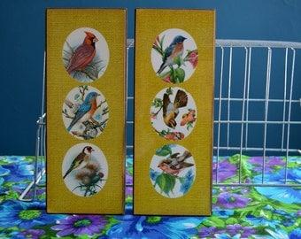 Vintage Set of Two Bird Print Wall Hangings