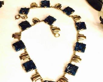 SALE CLEARNCE SALE Beautiful 1920s Art Deco Geometric Carved Lapis Blue Art Glass Chevron Silver Vintage Necklace Art Deco Jewelry