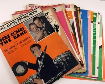Huge Collection of Old Sheet Music. 24 Pieces. 1930s-1980s.  Antique Sheet Music Lot. Vintage Sheet Music To Play, Display, Ephemera