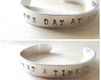 One Day at a Time, Hand Stamped Cuff Bracelet, Autism jewelry, Autism Mom, Autism Awareness bracelet, unisex, Puzzle Piece, Fundraiser