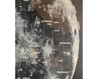 1968 lunar surface original vintage celestial astronomy print - photographic sections of the moon pl 83