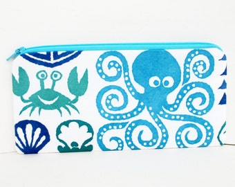 Zippered Pencil Pouch, Sea Creatures, Octopus, Crab, Turtle Zipper Pouch