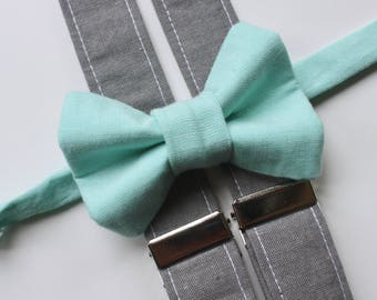 Little and Big Guy Bow tie and Suspender SET - Aqua and Gray -(All Sizes Newborn-Adult)