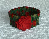 """Custom for NoodleGirl - Flowers and Flakes Dog Scrunchie Collar with red rayon flower - Size S: 12"""" to 14"""" neck"""