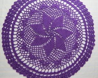 Purple Doily-13.5 inch Doily-Pinwheel Doily-Hand Crocheted Cotton Doily-Cindy's Loft