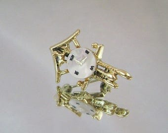 ON SALE Vintage Brooch Mother of Pearl Cuckoo Clock