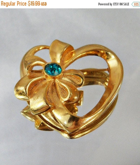 SALE Vintage Heart Brooch AVON Teal Blue Green Rhinestone and Bow