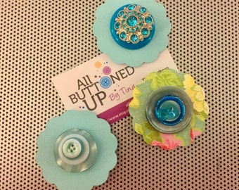 Turquoise Button Flower Magnets ~ Desk Accessories ~ Gift for Girl ~ Girls Bedroom Decor ~ For Bulletin Board ~ Boho Art - For Crafter