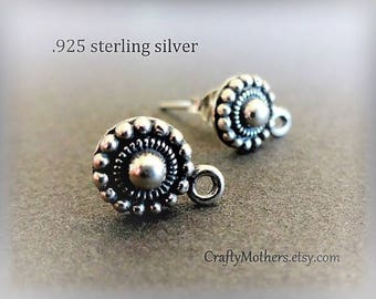 Take 15% off with 15OFF20, ONE pair Bali Sterling Silver Granulated Earring Posts, 8mm x 11.5mm, (2 pieces), Artisan-made