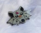 Bat Pin - BIG Hard Enamel Pin - black nickel plating