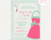 Printable Kitchen Shower Invitation & Recipe Card- Pink, 5 x 7 Invitation, 4 x 6 Recipe Card, Bridal Shower, PDF File with Editable Text