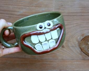 Ug Chug Pottery Soup Mug Bowl. Big 20 Ounce Green Happy Smiley Face. Fun Chili Bowls with Handle. Popcorn Bowl.Huge Latte Cappuccino Cup.