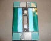 MOSAIC Light Switch Plate -  Single Switch, Wall Art, Wall Plate, Stained Glass, Turquoise, Aqua, Gray