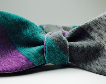 Grey Bow Ties Striped Bow Tie Linen Bow Ties Grey and Purple Bow Ties Custom Bow Ties