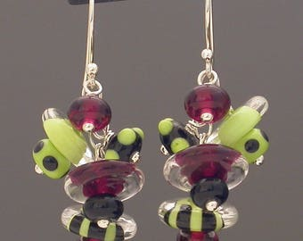 Fun earrings, entirely handmade from lampwork glass beads and recycled silver, Watermelon- colorful lime green, black, and magenta pink