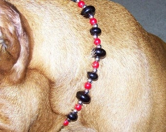Red and Black Beaded Dog Necklace, Beaded Pet Necklace, Dog Collar, Pet Collar