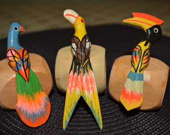 Vintage parrot napkin rings set of 6