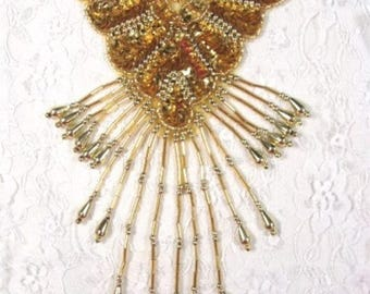 """Sequin Applique Gold Epaulet Shoulder Beaded Motif For Costumes and Clothing 8""""  (0178-gl)"""